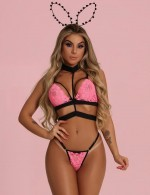 Catching Pink Choker Strappy Lace Bralette Lingerie Set Comfortable
