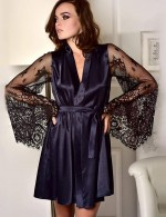 Glam Navy Blue 3-Piece Faux Ice Silk Kimono Bedgown Bell Sleeves Sale Online