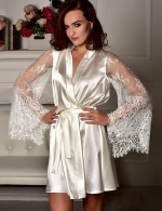 Irresistible White Faux Ice Silk Bathrobe Kimono Sleepwear Lace Sexy Lingerie