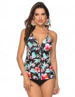 Splicing Criss Cross Floral Print Tankini Large Size Ideal Choice