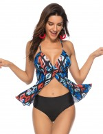 Adult Padded Plus Size Tankini Front Split Printing Super Trendy