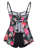 Irregular Lace Up Big Size Tankini Ruffles Thin Straps Ideal Choice