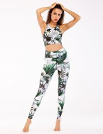 Green Floral Sports Bra With Pants Wide Straps Aerobic Activities