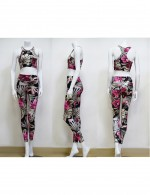 Heartthrob Rose Red Flower Printing Yoga Suit With Pads Smooth