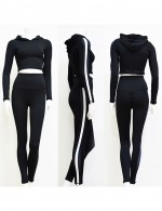 Natural Black Ruched Hooded Sport Suit With Stripes For Running Girl