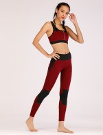 Attactive Wine Red Splice Zipper Activewear 2 Pieces Fashion Shop Online