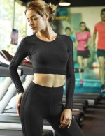 Refreshing Black Round Neck Cropped Sportswear Set Smooth