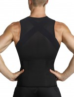 Meticulous Design Black Mens Body Shaper Vest Abdomen Slim Plus Size Blood Circulation Boosting