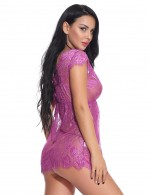 Perfection Purple 2 Pieces Eyelash Lace Babydoll Plunging Neck All Over Soft