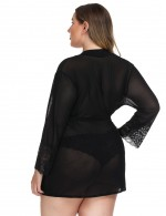 Dreamlike Black Lace Patchwork Big Size Robe Lingerie Mesh For Woman