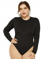 Ultra Contemporary  Black Full Sleeved Bodysuit Queen Size High Cut Legs Womens Apparel