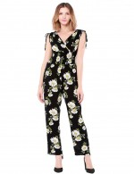 Absorbing Black Wrapped Floral Printed Rompers Ankle Length Understated Design
