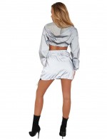 Structured Grey Full Sleeves Cropped Hoodie Top With Mini Skirt Pockets