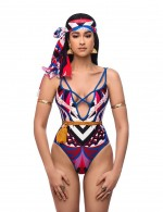 One Piece Strappy Bathing Suit Tribal Pattern Soft-Touch Underwear
