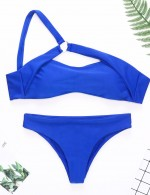 Sweetheart Pure Color Keyhole Bikini One Shoulder For Summer Vacation