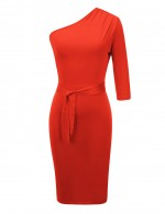 Graceful Orange Half Sleeve Bodycon Dress Knee Length Plus Size