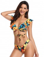 Summer Glow Padded Floral Bikini Flounce With Knot Beach Party Time