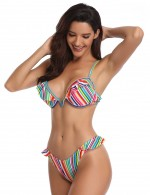 Hot Summer Padded Plunging Neck Bikini Colorful Stripes Ladies