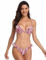 Adorable Spaghetti Straps Striped Bikini With Bowknot Girls Fashion
