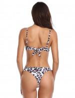 Pool Party Leopard Pattern Bikini Bowknot Deep V-Neck Smooth