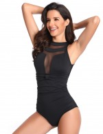 Striking Black Splice Ruched One Piece Swimwear Mesh Sexy Ladies