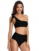 Classy Black Solid Color Bikini Single Shoulder Bowknot Soft-Touch