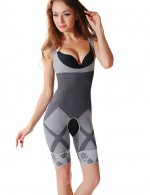 Tight Grey Seamless Underbust Full Body Shaper Contrast Color Curve Shaping