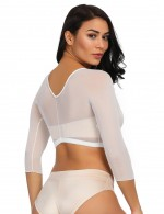 Good White Mesh Scalloped Shaping Crop Top Long Sleeves Posture Corrector