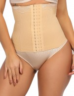 Stylish Nude Lace Steel Boned Waist Cincher Double Layers Slimming Stomach