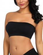 Inviting Black Cotton Double Layers Solid Padded Bandeau Tops Cheap