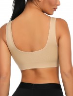 Sexy Ladies Nude Seamless No-Wire Padded Sport Bras Big Size Woman