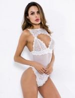 Endearing White Front Keyhole Scallop Teddy Spaghetti Straps Private Fashion