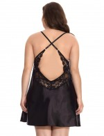 Luscious Black Plus Size Faux Silk Chemise Two Pieces Exotic Girls