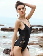 Eye Catcher Black Padded Hollow Out One Piece Swimsuit V-Neck Female Grace