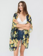 Seaside Navy Blue Floral Print Beach Cover Up Sunscreen Casual Fashion