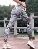Charming Grey Serpent Printed Active Legging Ankle Length For Fitness