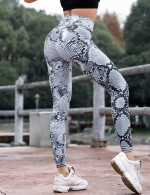 Paradise White High Waisted Sports Leggings Snake Print Honeymoon