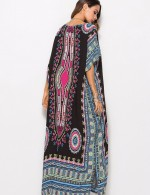 Honey Black Tribal Plunging Neck Dresses Ankle Length For Fashion