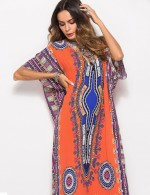Bodycon Fit Orange African Pattern Maxi Dress With Side Slits Comfort