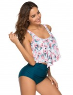 Sweet Fantasies Ruffles High Waisted Bikini Print Natural Outfit