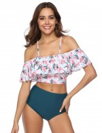 Bright High Waisted 2 Pieces Bathing Suit Ruffle Feminine Grace