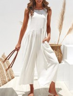 Fitness White Ruched Plain Sleeveless Jumpsuits Pocket For Romans