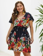 Alluring Black Big Size Floral Mini Dress Plunging Neck Fashion Design
