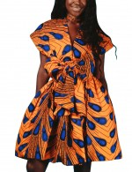 Curve Smoothing African Print Mini Dresses Halter Neck Chic Trend