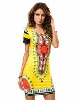 Romance Yellow Digital Print Mini Bodycon Dress Plus Size Fashion