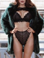Wedding Night Black Big Size Scallop Lace Bra Set High Cut For Lady