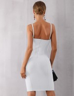 Exquisite White Plain Bandage Dress Spaghetti Straps Comfortable