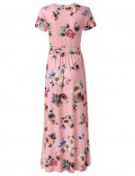 Fabulously Queen Size Print Maxi Dresses Waist Sash Natural Women