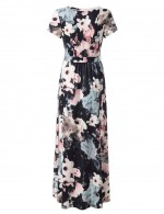 Liberty Large Size Wrap Maxi Dresses Ruched Waist Wedding Trip