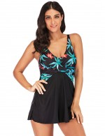 Conservative Criss Cross Printed 2 Pieces Swimsuit Big Size